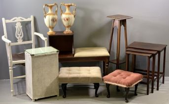 FURNITURE ASSORTMENT to include reproduction telephone table, nest of three tables, planters