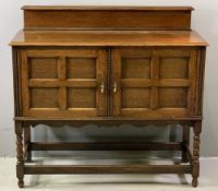 EDWARDIAN SIDEBOARD - with rail back, fielded panelled twin doors on barley twist supports and
