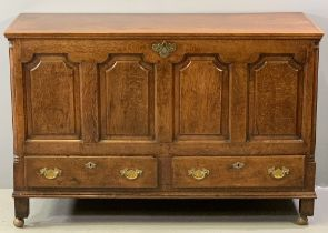 ANTIQUE OAK LANCASHIRE CHEST, a fine example with four fielded panelled front over two base drawers,