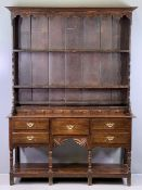 CIRCA 1840 WELSH OAK POTBOARD DRESSER, shaped sided three shelf rack with wide boards over six spice