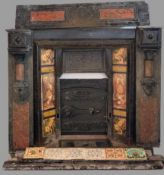 AMENDED DESCRIPTION - VICTORIAN FIRE SURROUND - slate and tiled with cast iron central section