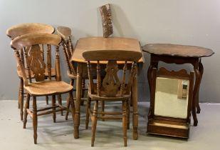 FURNITURE ASSORTMENT - Edwardian dressing table mirror, set of four farmhouse chairs, circular