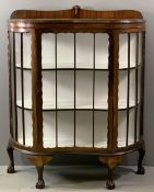 ORNATE CHINA CABINET - antique mahogany with shaped front, rail back and on ball and claw feet,