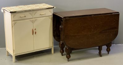 CIRCA 1950's KITCHEN CUPBOARD BASE, 84cms H, 77cms W, 38cms D and an antique oak gate leg table on