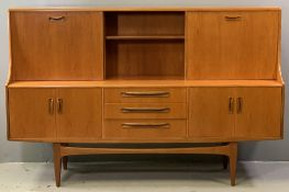 G-PLAN SIDEBOARD - teak with upper sliding door section, mid-Century style, 122cms H, 188cms W,