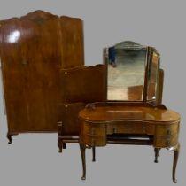EDWARDIAN THREE PIECE BEDROOM SUITE - mahogany effect, comprising single door wardrobe, 200cms H,
