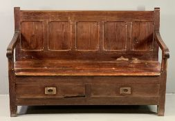 ANTIQUE SETTLE with five fielded panel back and two base front drawers, 102cms H, 153cms W, 58cms D