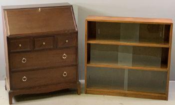 STAG MINSTREL BUREAU, 99cms H, 79cms W, 45cms D and a mid-Century style three shelf bookcase with