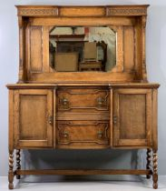 EDWARDIAN MIRROR BACK SIDEBOARD with beadwork detail on barley twist supports, two door and two