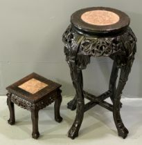 CHINESE MARBLE TOPPED PLANTER STAND, 60cms H, surface diameter 28cms and a small square topped