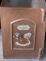 VINTAGE SAFE - labelled for 'Midland Safe Company of Birmingham' with key, 62cms H, 43cms W, 43cms