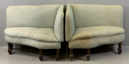 VINTAGE SINGLE SEAT CORNER SETTEES, a pair, on turned and block supports, 74cms H, 93cms W, 67cms