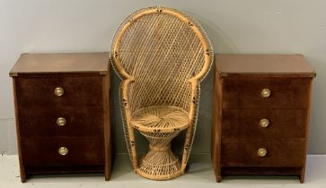 PAM AYRES STYLE CANE PEACOCK CHAIR - miniature version, 92cms H, 55cms W, 40cms D and a pair of