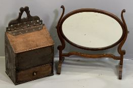 ANTIQUE OAK CANDLE BOX, 43cms H, 26.5cms W, 16cms D and a Georgian mahogany swing toilet mirror,