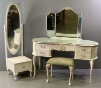FRENCH PROVINCIAL STYLE BEDROOM FURNITURE - kidney shaped dressing table, 140cms H, 130cms W,