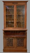 SECRETAIRE BOOKCASE - antique mahogany with two carved doors to the base and glazed astragal pane