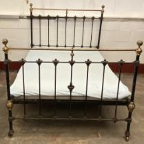 ANTIQUE BED - brass and iron with rails and base, headboard dimensions 142cms H, 140cms W