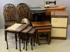 LARGE FURNITURE ASSORTMENT - comprising Priory style gate leg table, four wheelback dining chairs,