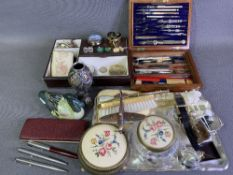 PARKER PENS & PENCIL (3), vintage geometry set in a wooden box, dressing table items and assorted