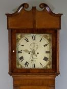VICTORIAN LONGCASE CLOCK - oak, eight day movement with painted dial, by J Willman, Bangor (