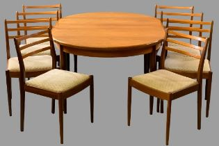 G-PLAN DINING TABLE & SIX CHAIRS - teak, extending, mid-Century style (table - 74cms H, 112cms W,
