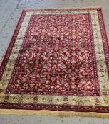 PERSIAN-STYLE 'SILK' RUG, allover red floral scrolling field with tendrils, ivory border, fringe,