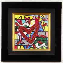 ROMERO BRITTO diamond dust and oil pen on digital canvas print - entitled verso 'Bright',