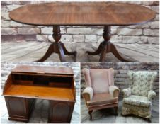 ASSORTED OCCASIONAL FURNITURE, including reproduction brass-inlaid twin pedestal dining table with