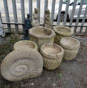 ASSORTED CONCRETE GARDEN ORNAMENTS, including set of three basket weave moulded planters, carved