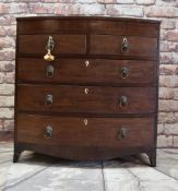 REGENCY EBONY STRUNG MAHOGANY BOWFRONT CHEST, fitted two short and three graduated long drawers,
