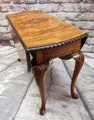 QUEEN ANNE-STYLE WALNUT & ROSEWOOD DROP FLAP TABLE, gadroon moulded oval top on shell carved