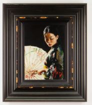 FABIAN PEREZ hand embellished limited edition (61/195) giclee on canvas - entitled verso 'Michiko