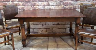 18TH CENTURY-STYLE OAK TRESTLE TABLE & FOUR DINING CHAIRS, chairs with leather inset backs and