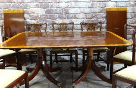 GOOD MODERN REGENCY-STYLE MAHOGANY & SATINWOOD CROSSBANDED TWIN PEDESTAL DINING TABLE & CHAIRS,