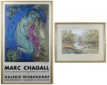 MARC CHAGALL colour lithograph Galerie Nierendorf (Berlin) exhibition poster for 24 Nov 1980 - 17