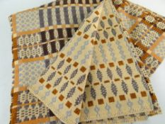 WELSH TAPESTRY BLANKET, orange, caramel and chocolate, blanket stitched edge, wool, 188 x 202cms