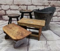 VINTAGE METAL COAL SCUTTLE & FOUR ASSORTED 'MILKING STOOLS' (5)