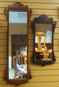 TWO GEORGIAN-STYLE MAHOGANY FRET MIRRORS, one 85 x 43cms, the other 133 x 45cms (2)