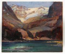 LEONARD RICHMOND (1889-1965) oil on canvas - Canadian mountainous landscape, 'Lake O'Hara',
