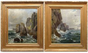 WALTER GODDARD (Welsh, 1858-1933) oils on canvas - rocky coastal seascape, signed and dated 1905, 60