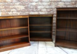 THREE MODERN GEORGIAN-STYLE DWARF BOOKCASES, including a pair with moulded tops and adjustable