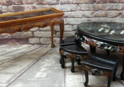 MODERN CHINESE MOTHER-OF-PEARL INLAID COFFEE TABLE, and six smaller occasional tables, 122cms