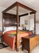REPRODUCTION GEORGIAN-STYLE MAHOGANY TESTER OR 'FOUR POSTER' BED, dentil canopy above panelled back,