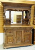 RENAISSANCE-REVIVAL FLEMISH OAK SIDEBOARD, architectural carved mirror-back top with shelves and