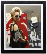 ANDY SHORT oil on canvas - 'Red Lipstick', signed with initials, 63 x 73cms Please note that this