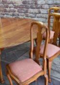 LARGE MODERN FRUITWOOD CIRCULAR DINING TABLE & SET TEN BEECH DINING CHAIRS, table with cabriole legs