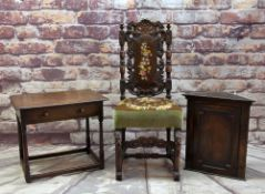 17TH CENTURY-STYLE CARVED OAK HALL CHAIR with petit point upholstered back and seat, together with