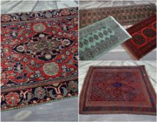 FIVE ASSORTED ORIENTAL RUGS, including floral medallion rug, 180 x 115cms, Caucasian lozenge
