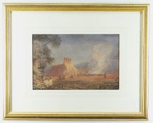 CIRCLE OF DAVID COX watercolour - fire beside thatched oast house, bears signature and