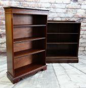 TWO REPRODUCTION MAHOGANY DWARF BOOKCASES, on upright with boxwood stringing, 76 x 29 x 123cms,